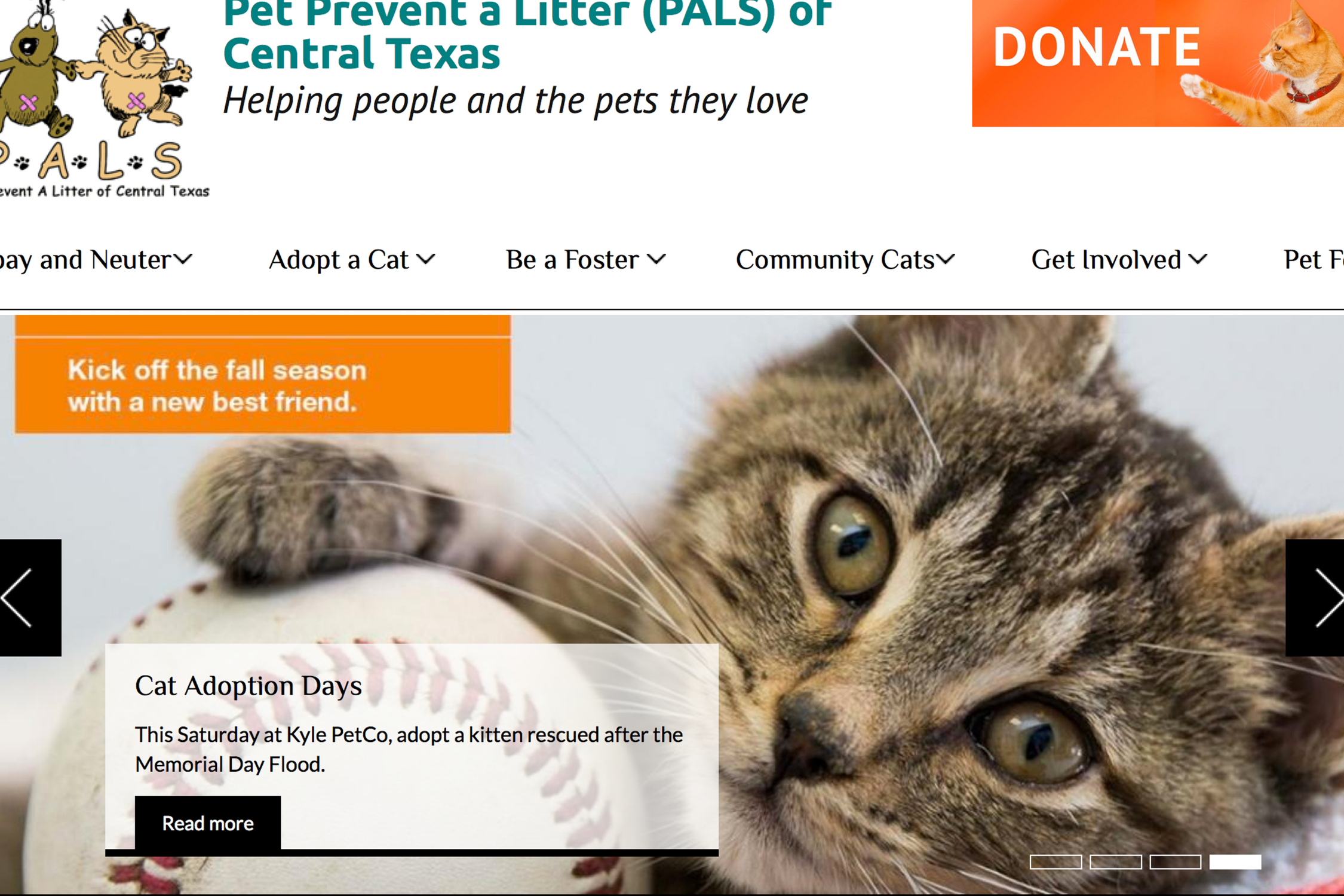 a screenshot of the PET FEST page on the PALS website